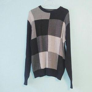 Oscar De La Renta Vtg Black Gray Pullover Sweater